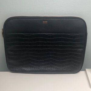 """Kikki.K 13"""" Black Croc Leather Laptop Case"""